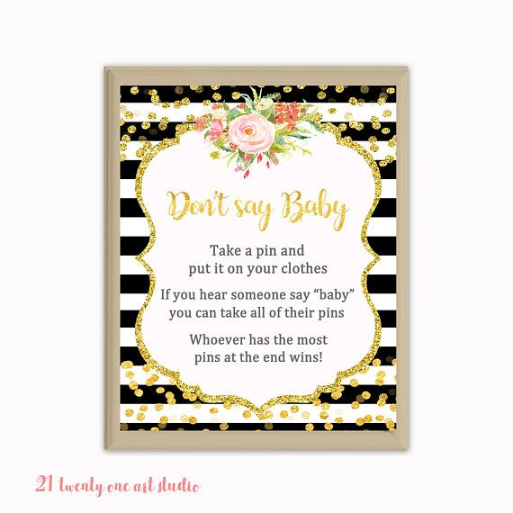 Black Stripes Don't Say Baby Game Floral Baby Shower