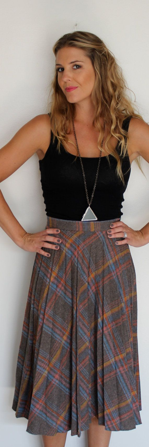 1970's Plaid Pleated Skirt by LeFoss on Etsy