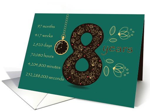Congratulations on 8th Cancer Free Anniversary. Time counting card