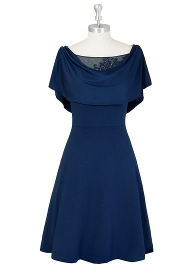 AZAZIE JAQUELINE MBD. Dress Jaqueline MBD by Azazie is a simple jersey and tulle mother of the bride dress featuring a cowl neckline on a knee-length A-line/princess skirt. #WeddingParty #Wedding #CustomDresses #AZAZIE