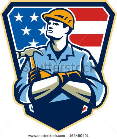 Illustration of an american carpenter builder holding hammer looking up set inside shield great with stars and stripes flag in background. #carpenter #laborday #retro #illustration
