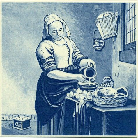"""The Milkmaid, Dutch Delft. Replica image of """"The Milkmaid"""" or """"The Kitchen Maid"""" painting by Dutch painter Johannes Vermeer"""