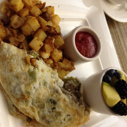 Egg White Omelet with Chiles, Goat Cheese, Chicken Sausage from Canyon ...