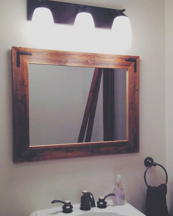 24x30 reclaimed wood bathroom mirror - rustic modern home decor