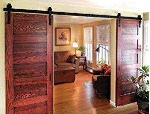 DIYHD 3Mレール両開きドア納屋のトラックレール木製のドアのスチール黒い吊り引き戸金物