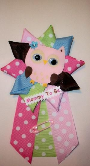 Owl Baby Shower Corsage Girl Owl Theme Baby by CrazyCraftFrog by GreciaParra