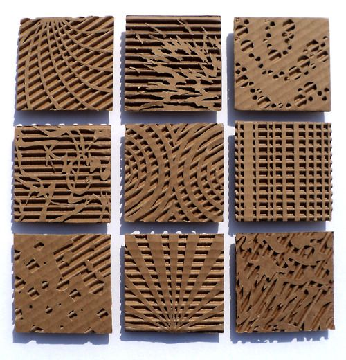Cardboard Relief (add some paint on the raised surfaces & this would be fab & colorful wall art!)