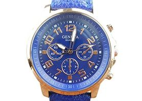 Unisex Leather Band Analog Quartz Vogue Wrist Watch Watches BU