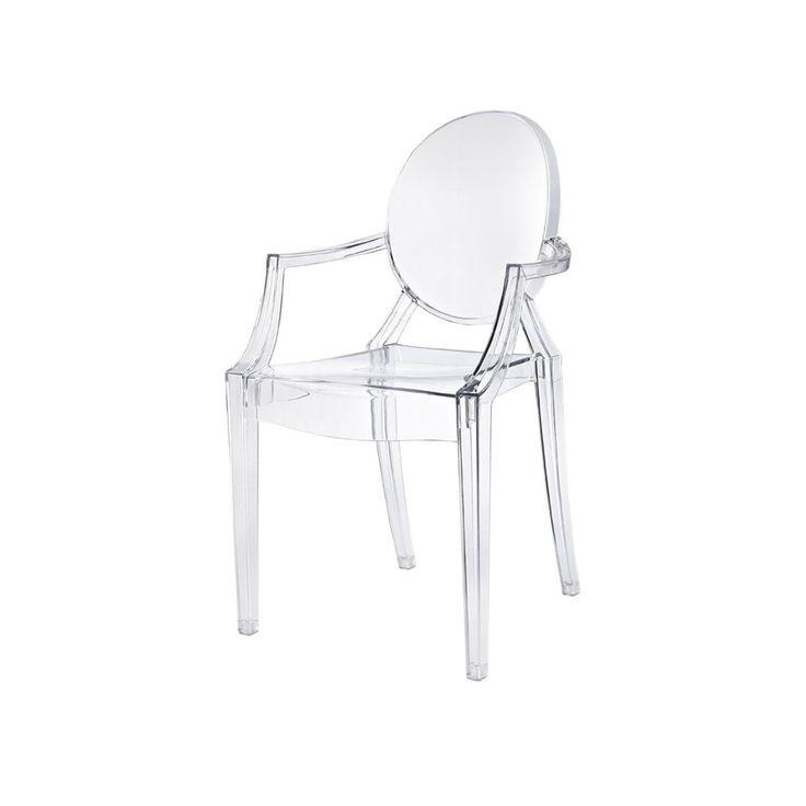 Philippe Starcks Louis Ghost är ett av de mest vågade och utmanande exemplen på en stol i polycarbonate från Kartell. Louis Ghost är en bekväm liten karmstol gjort i ett enda stycke. Designen är hämtad från Louis XV:s tid, därav namnet.