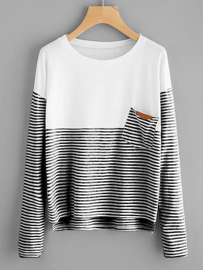 d8a4e61dfb Shop Contrast Striped Dip Hem Tee online. SheIn offers Contrast Striped Dip  Hem Tee & more to fit your fashionable needs.