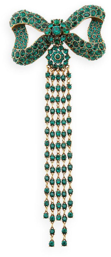 Emerald Bow Brooch with Long Emerald Bead Fringe