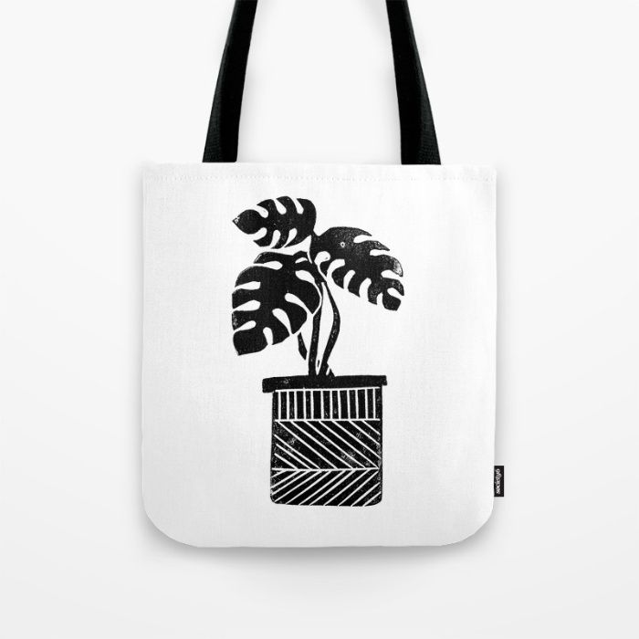 Linocut cheese plant monstera tropical leaf lino print black and white illustration art home dorm Tote Bag by Monoo   Society6
