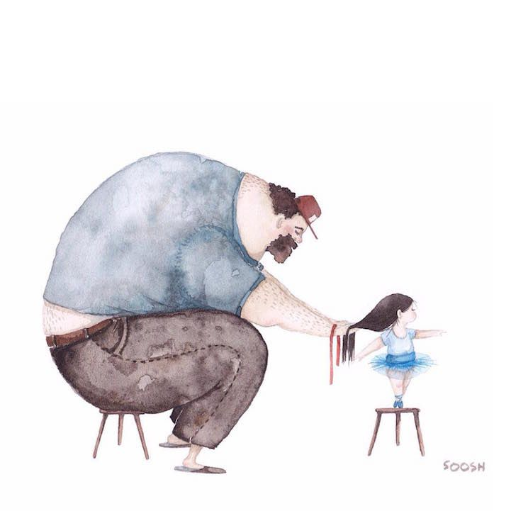 Heartwarming Watercolors Honor the Unbreakable Bond Between Do-It-All Dads and Their Daughters