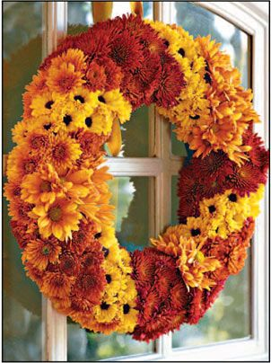 Simple autumn wreath made with chrysanthemums from Gooseberry Patch.
