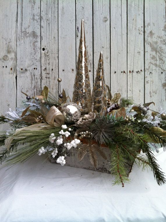 Christmas Centerpiece  Elegant Silver Table by marigoldsdesigns, $110.00