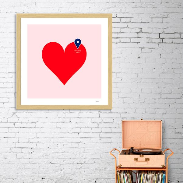 'YOU ARE HERE' . | Curioos | Exclusive Framed Art Print by Dominique Vari . | .  #homedecor #homeinspo #framedart #artprint #love #valentinesdaygift #valentinesday #graphic #minimal #art #lovemap #vibrant #red #pastel #pink #pin #dominiquevari #curioos