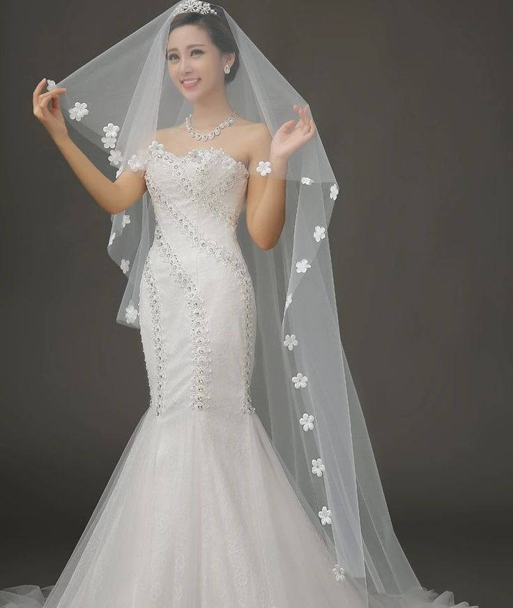 2.7m 1 Tier Cream Cathedral Tulle Organza Wedding Bridal Flower Edge Veil
