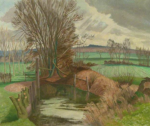 Disused Canal, Wormingford, Essex by John Northcote Nash R.A.. He served in The Artists Rifles in WWI