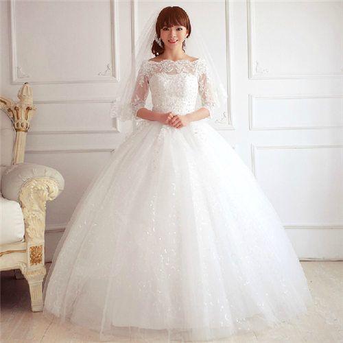 ウェディングドレス長袖七分袖オフショルダーレースウエディングブライダル結婚式花嫁衣装調節可編み上げ大きいサイズ白ホワイトレースアッププリンセスラインロングドレスaラインエレガントボリュームチュールラインストーン