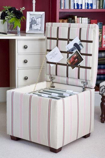 Small filing ottoman--exactly what I want. Saves space and it's right there in the house--easy access. Maybe bench ottoman for under desk?