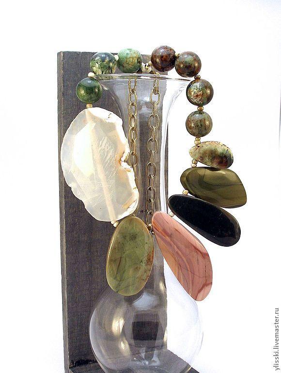 Купить Колье с яшмой, агатом Южная Франция. - авторское украшение, колье, натуральные камни
