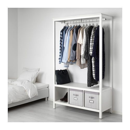 HEMNES Open wardrobe - white stained - IKEA