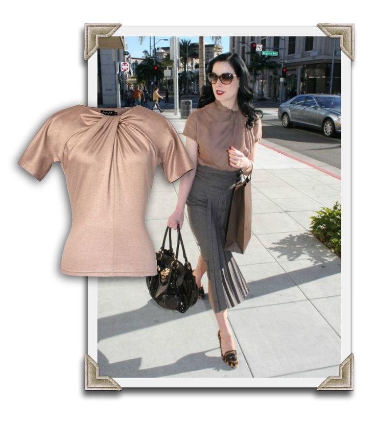 Dress like Dita! Ginger Jackie by Ekaterina Blinova, handmade in Russia! Top Couture vintage drapé Twist effet soie rose poudré - missretrochic.com