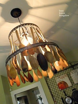 salvaged wooden spoons chandelier - love this