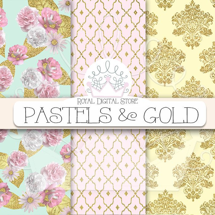 "Gold Digital Paper: ""PASTELS & GOLD"" with gold damask pattern, gold digital paper in pastel colors, pink, mint, wood, glitter for cards #gold #pink #damask #floral #wedding #digitalpaper #scrapbookpaper #planner #partysupplies"