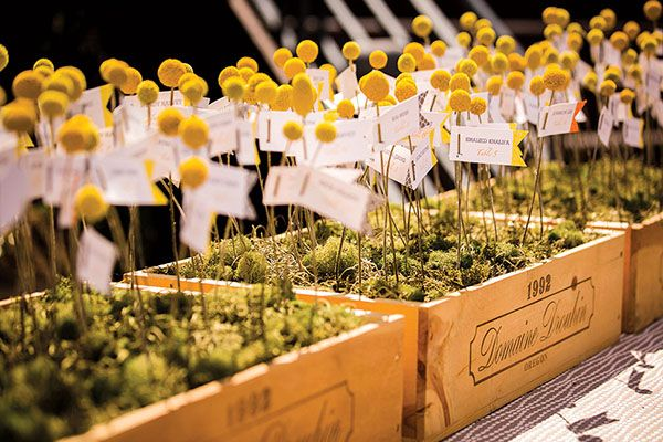 Attach your escort cards to cheerful billy balls, arranged in recycled wooden boxes topped with moss.