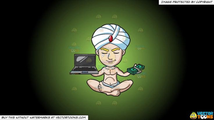 A Guy In Deep Meditation With Money And Laptop On A Green And Black Gradient Background:   A guy with blonde eyebrows wears a white loincloth and turban with a red oblong stone at the center sitting on the floor with crossed legs shuts his eyes to smirk while holding a bundle of green money in his left hand and a gray laptop in his right hand