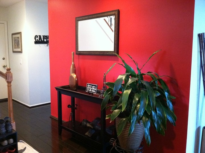 My Entry Way I Painted A Red Accent Wall Apartment