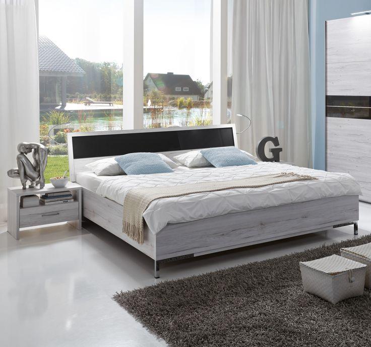 Unique Bett X Cm Weisseiche Glas Grau Woody Holz modern Jetzt