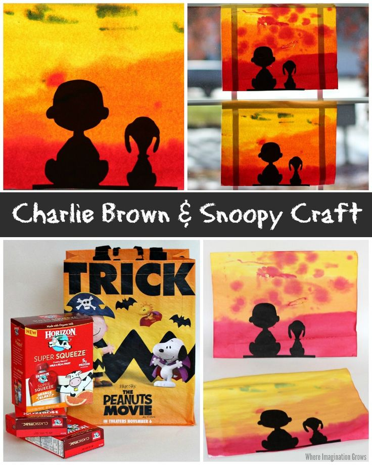 Charlie Brown and Snoopy Craft for Kids! Peanuts Watercolor art project! #peanutsmovie #ad