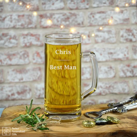 Best Man Beer Tankard.  Celebrate your special day with your Best Man.   This luxury Tankard is perfect as a thank you gift to your Best Man on your special day and a way for him to remember it forever.