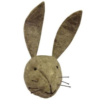 Fiona Walker (Scandi Chic) Felt Hare Head Wall Decor: With his giant ears and an impressive set of whiskers,this handsome Felt Hare Head is sure to be loved by adults and children alike.