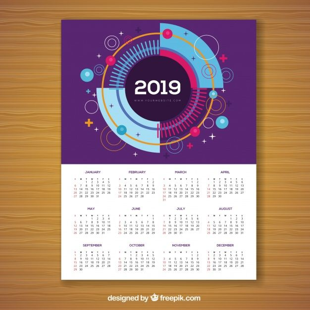 Download Calendar For 2019 In Memphis Style For Free Calendar Memphis Calendar Design