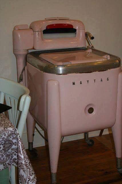 Vintage pink Maytag washing machine