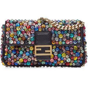 Fendi Embellished Leather Micro Baguette Shoulder Bag