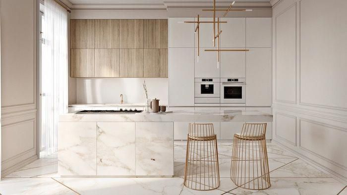 Cuisine Bois Et Blanc Style Scandinave Meuble Cuisine Blanc Avec Ilot Central Marbre Et Chaises Finition Dor In 2020 Keuken Interieur Huis Interieur Keuken Inspiratie