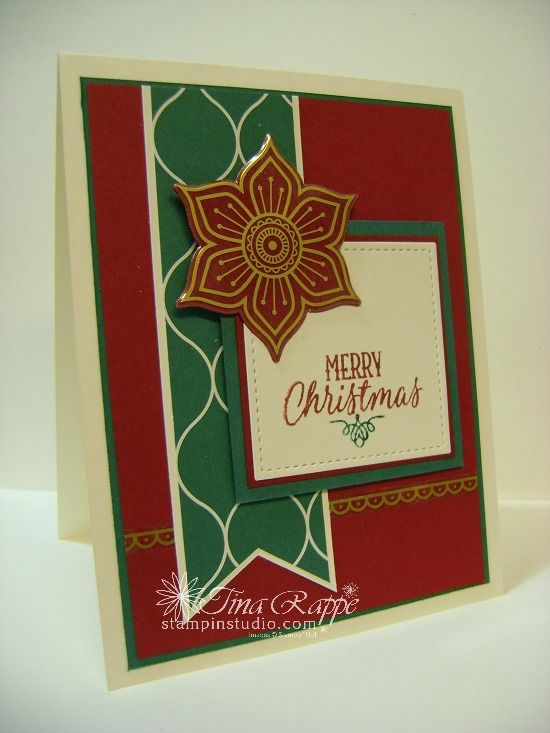 Stampin' Up!, Hang Your Stocking stamp set, Eastern Medallion Thinlits, Gold Vinyl Stickers, Tranquil Tide Christmas, Stampin' Studio