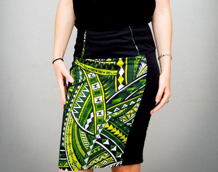 Jupe moulante pour femme imprimés vert et noir de la boutique AllByK sur Etsy