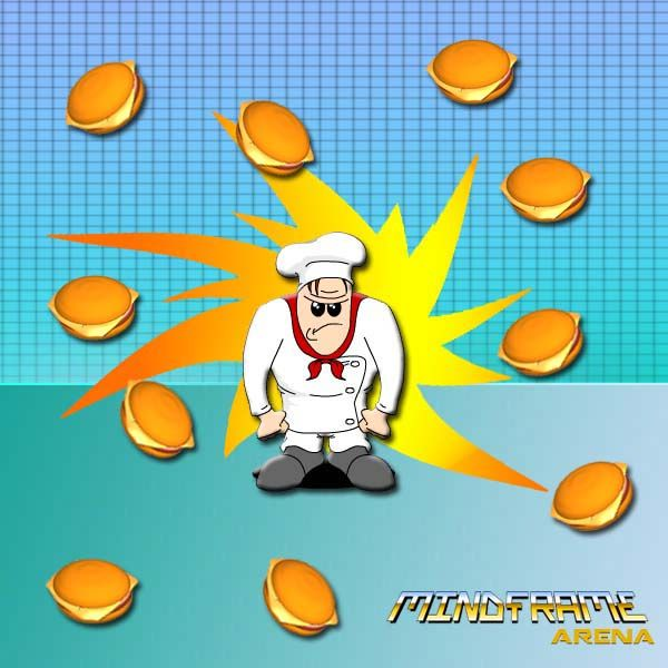 It's raining hamburgers! #mindframearena #gamedev #gameart #animation #burgers #chef