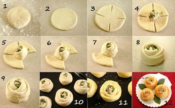 Bread rolls filled w. creamy chicken filling. Roses-step-by-step