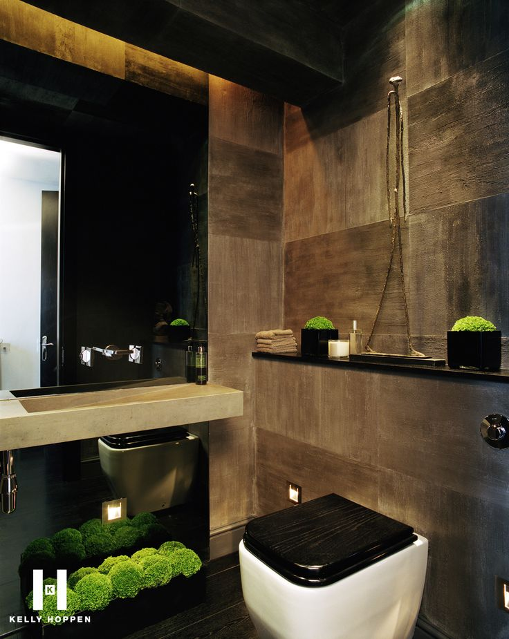 rustic grey tiles and black accents - Kelly's Home in Battersea   www.kellyhoppen.com