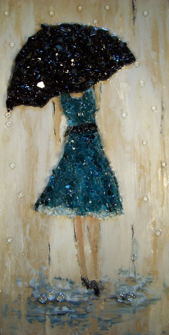 Crushed glass blue rain 12 x 24 x 1-1/2 heavy duty gallery wrapped canvas