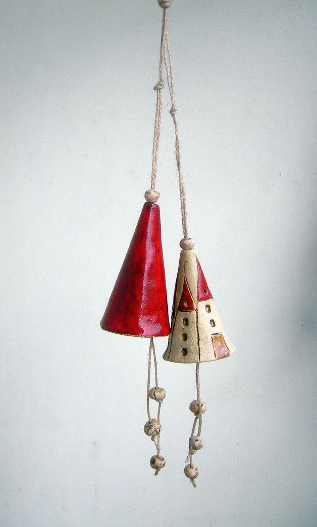 Windspiele - Glocke, Glockenset N°3, Keramikglöckchen - ein Designerstück von beckkeramik bei DaWanda