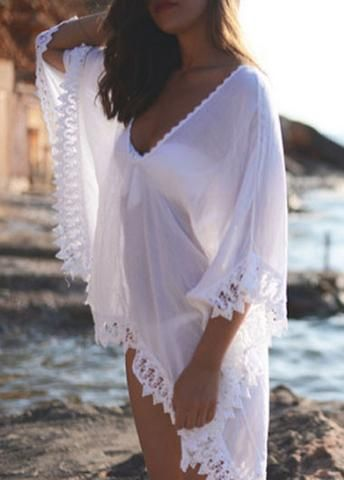 Lace Splicing White Semi Sheer Bikini Cover Up @ LegacyLooks.com 1800-639-6710 #LegacyLooks #Swimwear #Fashion