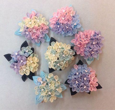 シダックス渋谷・姫ブーケと紫陽花 の画像|つまみ細工 ひなぎく 「花夢月比売」