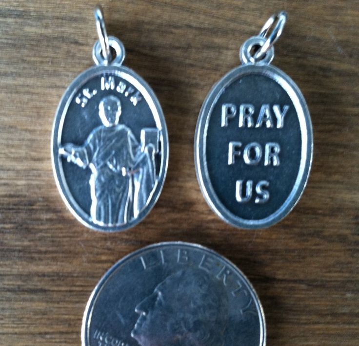 St. Mark the Evangelist holy medal - Catholic saint - patron of attorneys, captives, lions, notaries, prisoners, against insect bites by ChillyPumpkin on Etsy